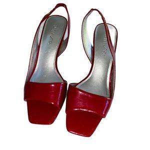 Unisa 90's Burgundy Slingback Square Toe Shoe 7.5B